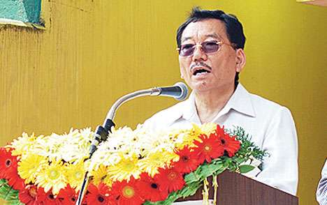 Chamling speaks at the meeting in Pakyong
