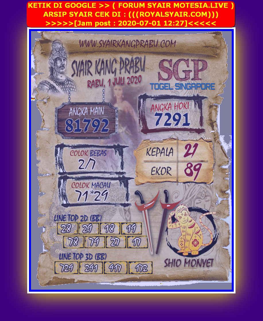 Kode syair Singapore Rabu 1 Juli 2020 35
