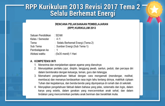 RPP Kurikulum 2013 Revisi 2017 Kelas 4 Tema 2 Selalu Berhemat Energi