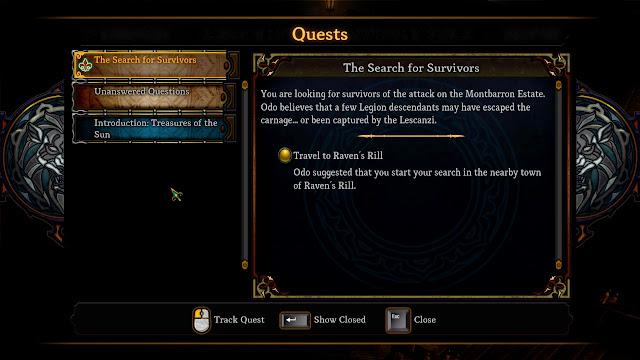 Dungeon Siege III quests journal screenshot