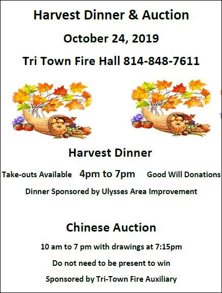 10-24 Harvest Dinner & Auction, Ulysses, PA