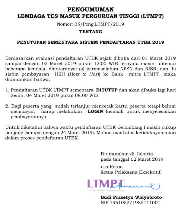 Pengumuman resmi LTMPT terkait UTBK 2019
