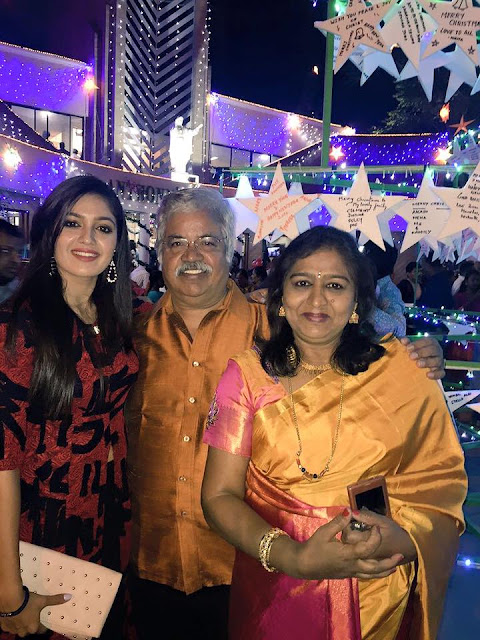 Meghana Raj with father and mother