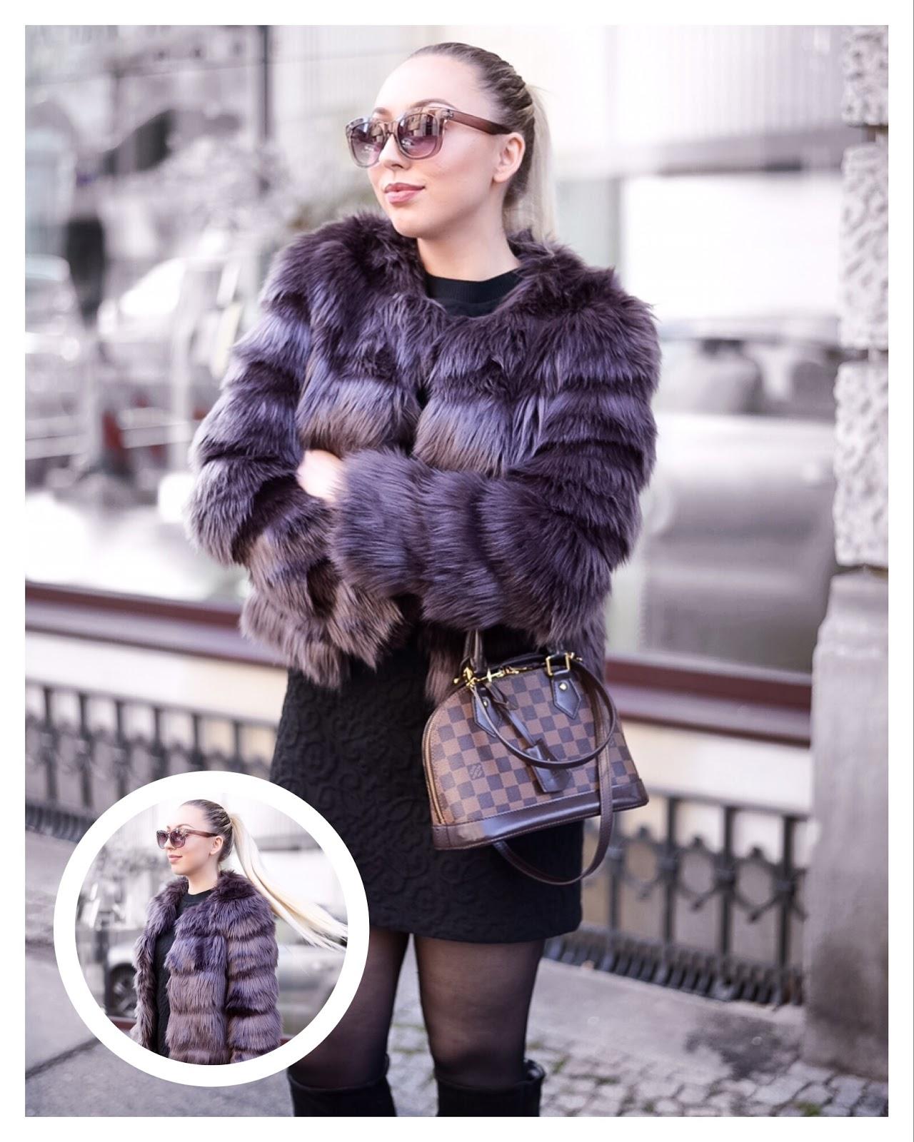 louis vuitton alma bb damier ebene_faux fur jacket