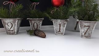 Декор торфяных горшочков