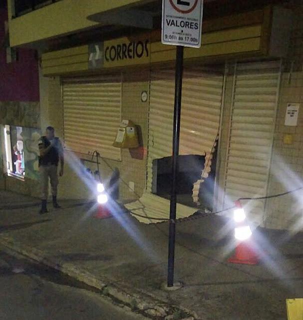 Agência do Correios e loja são arrombadas durante a madrugada em Juruaia, MG - Foto: Rede Sociais