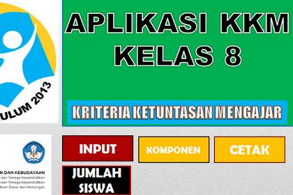 Aplikasi KKM Kurikulum 2013 SMP Kelas 8  format Excel