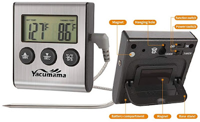 Yacumama Cooking Thermometer with Programmable Alert - Battery Powered Electronic Food Temperature Monitor
