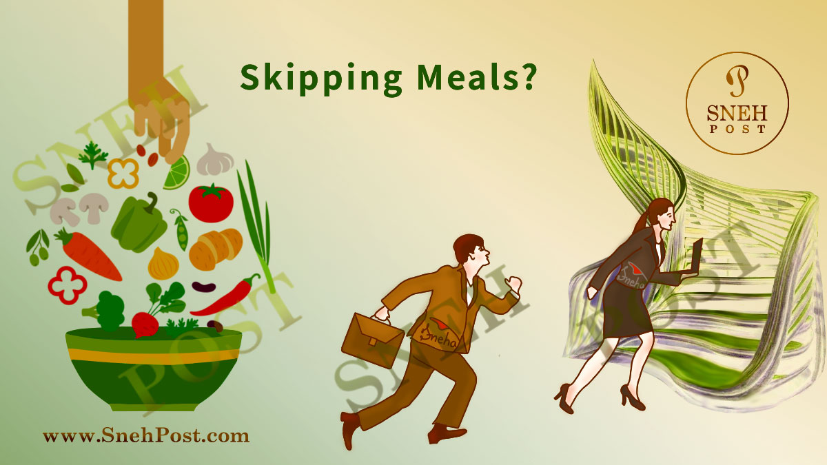 Can skipping meals cause diseases and uninvited side effects: Cartoon illustration of corporate working man in suit with bag and women in business suit with laptop in hand running behind success without eating food, leaving it behind with empty stomach to reach the top of the stairs