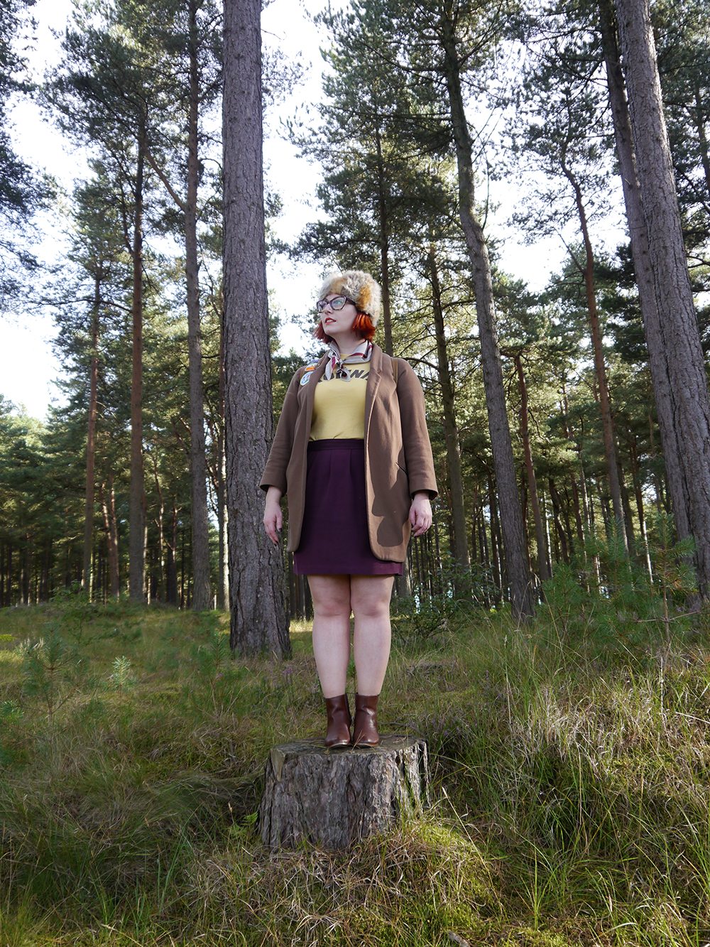 Scottish blogger, style blogger, Moonrise Kingdom outfit, Moonrise Kingdom style, costume idea, Wes Anderson inspired outfit, Sam Moonrise Kingdom, scout style, Moonrise kingdom inspired outfit, vintage style, fur hat, Spex Pistols glasses, patches for adventurers, Lucky Dip Club patches, Olivia Mew cat scarf, vintage Brownies tshirt, Rag Trade Vintage, primark backpack, adventurer style