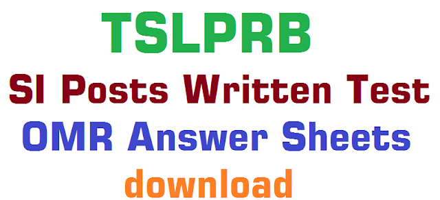 TSLPRB,SI Posts written test,OMR Answer Sheets