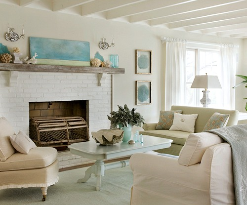 Elegant Coastal Living Room in Beige and Soft Blue