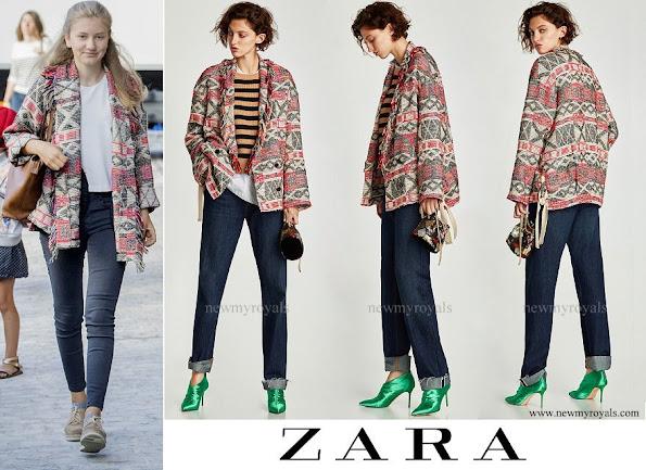 Crown Princess Elisabeth wore ZARA fringed coat with ribbons