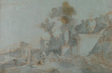 Landscape with Ruins by Charles-Joseph Natoire - Landscape Drawings from Hermitage Museum