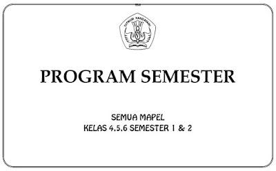 Program Semester (Promes) SD Kelas 4,5,6 Semester 1 dan 2 KTSP Semua Mapel