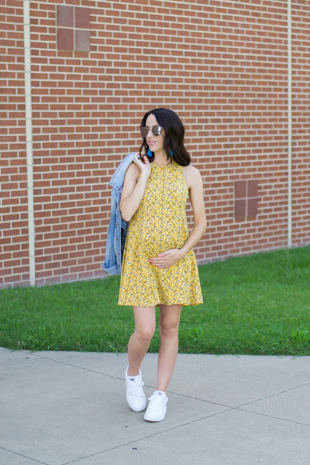 Maternity Style summer dress and sneakers