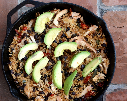 Black Beans & Rice Skillet Casserole with Smoked Chicken ♥ KitchenParade.com