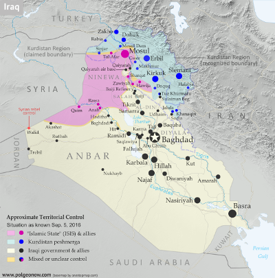 Map of government, Kurdistan, and Islamic State (ISIS/ISIL) control in Iraq