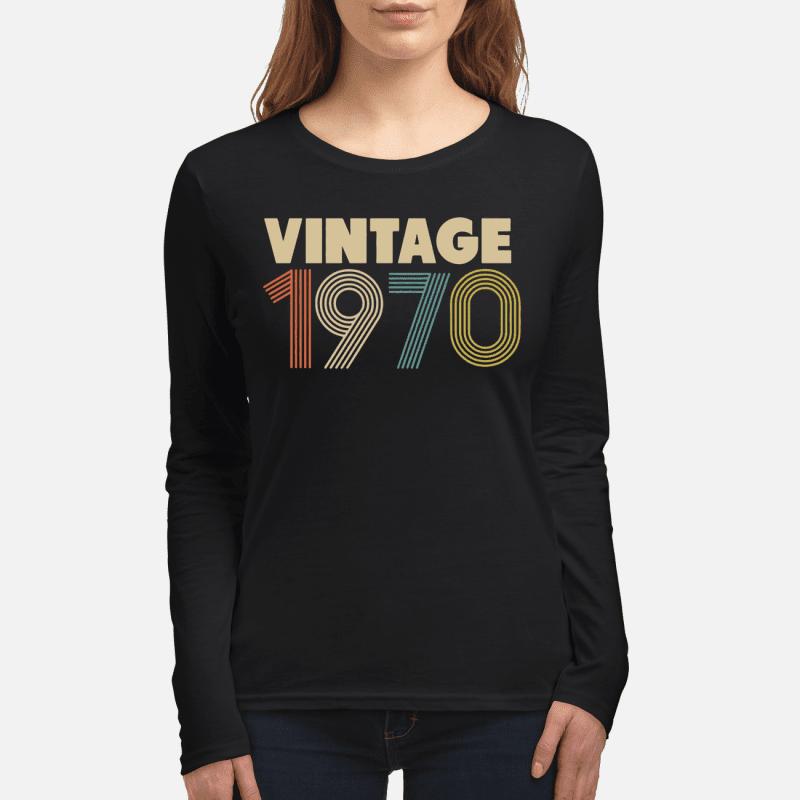 Retro Vintage 1970 48th Birthday Womens Long Sleeved T Shirt