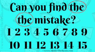 Can you find ->the the<- mistake? 1 2 3 4 5 6 7 8 9 10 11 12 13 14 15