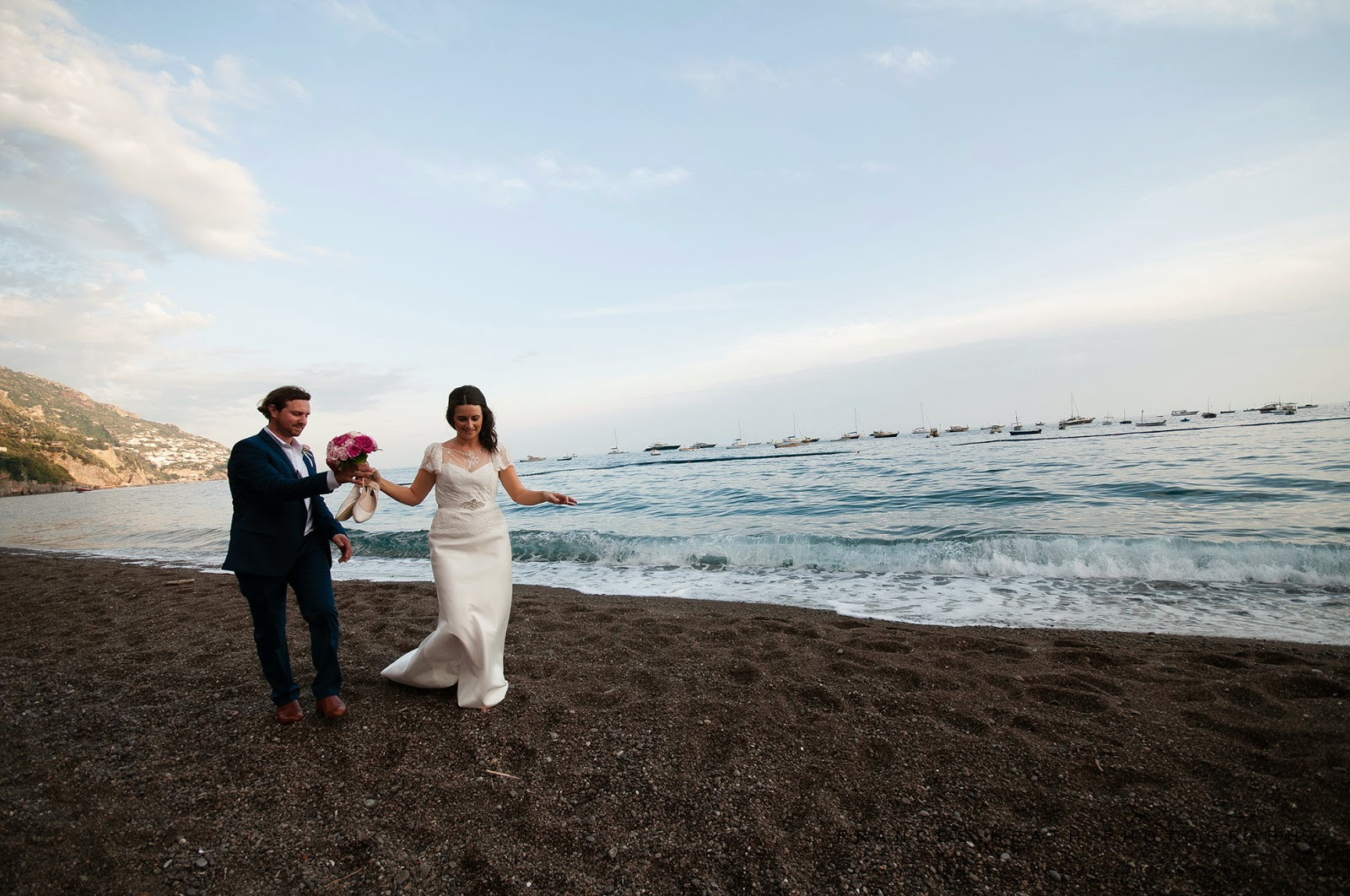 Wedding portraits on the beach of Positano