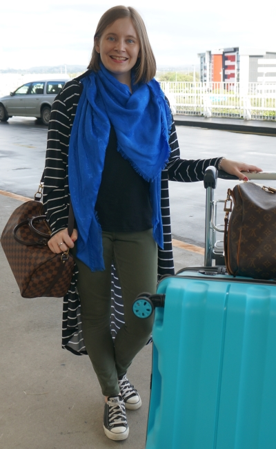 international flight style brisbane to edinburgh stripe duster louis vuitton luggage olive jeans converse | awayfromblue