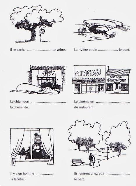 Przyimki miejsca - ćwiczenie 5 - Francuski przy kawie