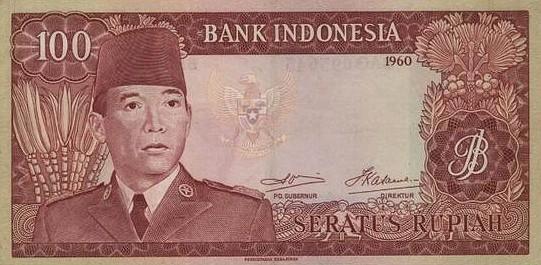 uang 100 rupiah soekarno 1965 depan