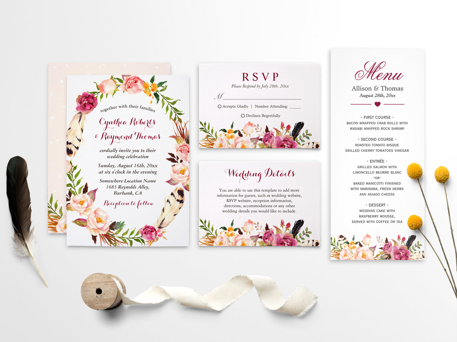 Modern Watercolor Boho Floral Wedding Invitation Suite | Mimoprints