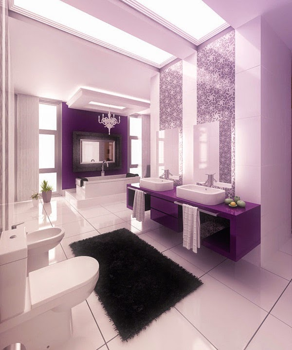 baño color violeta negro