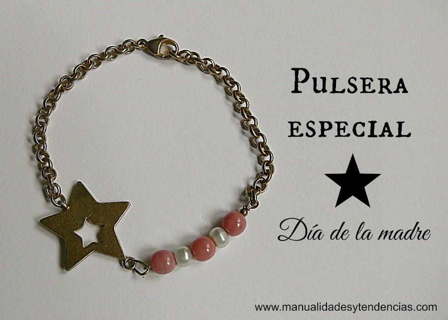 Pulsera hecha a mano con abalorios, cadena y estrella