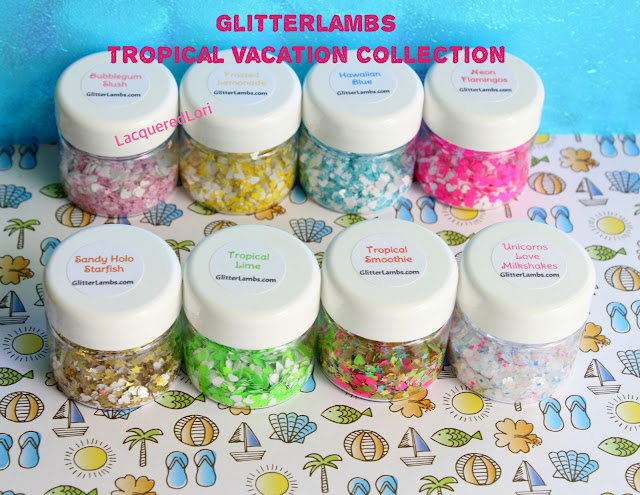 "Glitter Lambs Loose Glitter Mixes For Nail Art ""Tropical Vacation"" Loose Glitter Collection www.GlitterLambs.com"