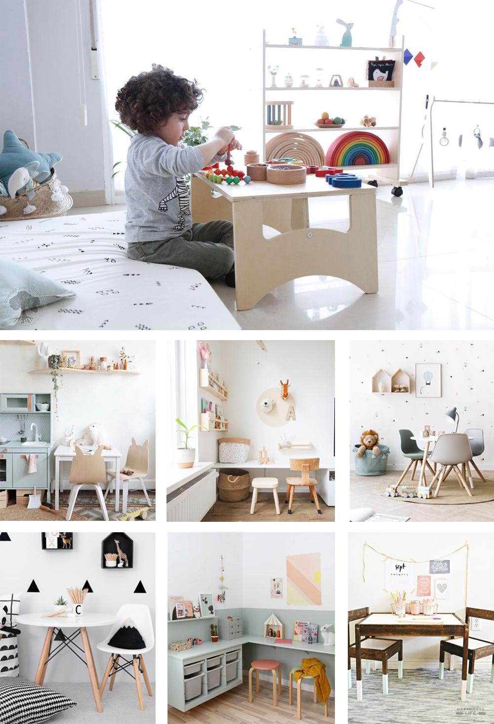 mesa y silla para niños en habitación Montessori de madera natural y económicas