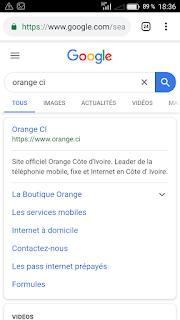 Orange ci rechercher sur Google