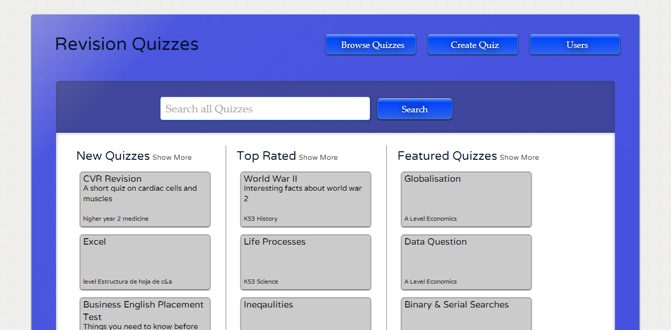 The Brand New Revision Quizzes