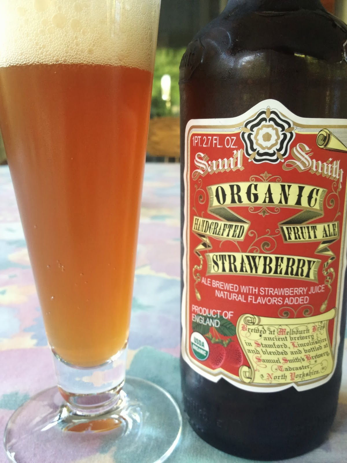A (soy) Bean: Beer: Samuel Smith Handcrafted Organic Fruit Ale