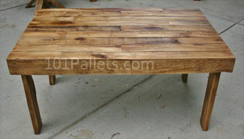 Easy to make pallet wood dining table pallet furniture - How to make table out of wood pallets ...