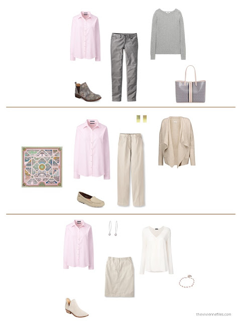three ways to wear a pink shirt from a capsule wardrobe