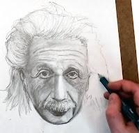 Albert Einstein ın kara kalem resmi çizilirken