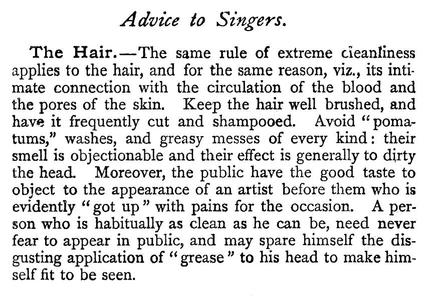 advice to singers, 1904