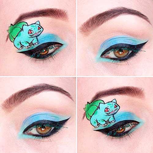 maquillaje ojos pokemon go : Bulbasaur