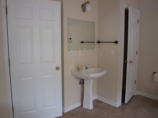 Before Master Bathroom in Chicagoland fixer upper by Hello Lovely Studio