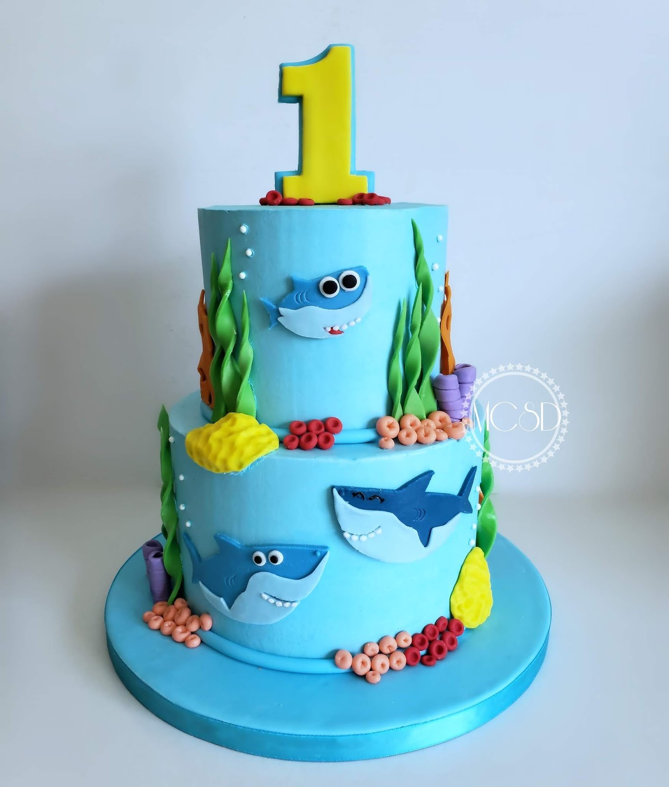 Superb Cakesbyzana Baby Shark 1St Birthday Cake Funny Birthday Cards Online Fluifree Goldxyz