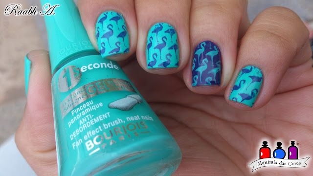 Unhas, Esmaltes, Nails, Bourjois, Indigo For It, Turquoise Block, Azul, Blurle, Bourjois One Seconde, Raabh A., Moyou Tropical 15, Nail Art
