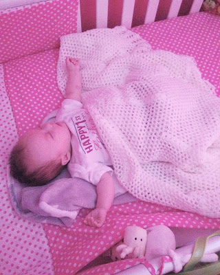 9 week old baby girl sleeping in own cot in own room