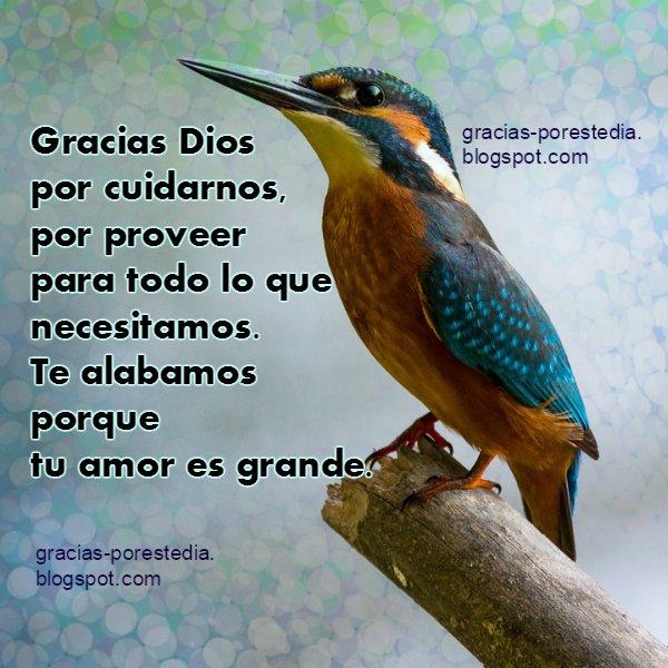 frases cristianas de gracias a Dios, nos cuida nos bendice. imagen dando agradecimiento al Señor. Oración de la mañana.