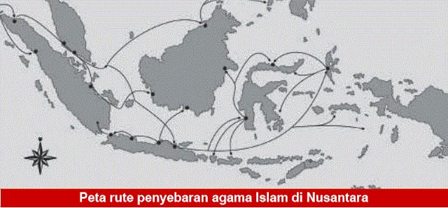 Gambar Peta rute penyebaran agama Islam di Nusantara