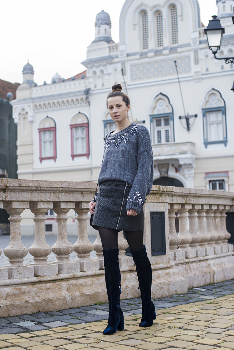 Skinny Buddha Sequin Knit Sweater