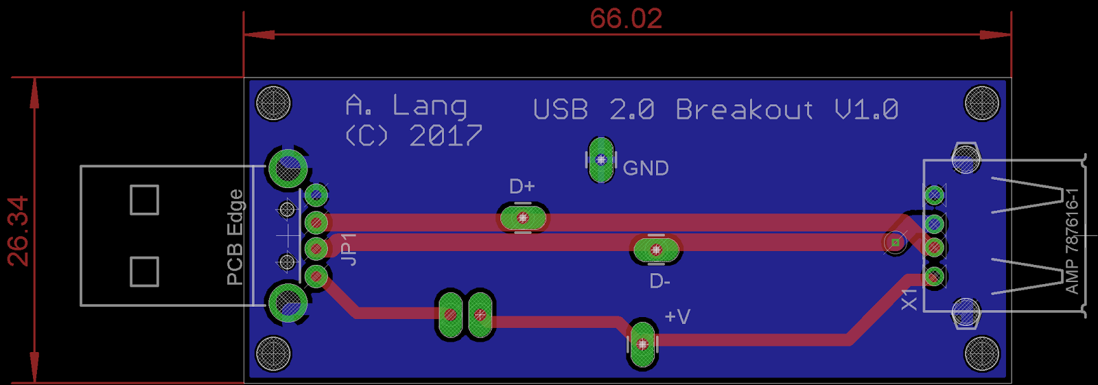 The Answer Is 42 Designing A Usb Breakout Board Pcb Layout Design New Style For 20162017 Edit I Have Updated After Some Valuable Feedback From Aamir Ahmed Khan Thank You Did Not Remember To Set Track Separation Distance